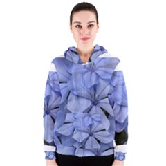 Bright Blue Flowers Women s Zipper Hoodies