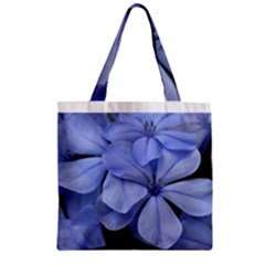 Bright Blue Flowers Zipper Grocery Tote Bags