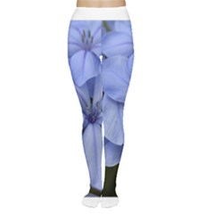 Bright Blue Flowers Women s Tights