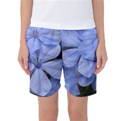Bright Blue Flowers Women s Basketball Shorts
