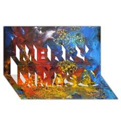 Space Pollen Merry Xmas 3D Greeting Card (8x4)