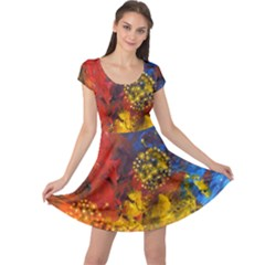 Space Pollen Cap Sleeve Dresses