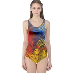 Space Pollen Women s One Piece Swimsuits