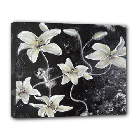 Black And White Lilies Deluxe Canvas 20  X 16