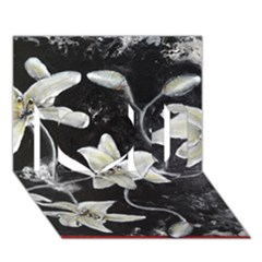 Black and White Lilies I Love You 3D Greeting Card (7x5)