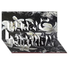 Black and White Lilies Happy Birthday 3D Greeting Card (8x4)