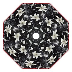 Black and White Lilies Hook Handle Umbrellas (Large)