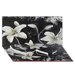 Black and White Lilies Twin Heart Bottom 3D Greeting Card (8x4)