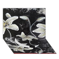 Black And White Lilies Circle Bottom 3d Greeting Card (7x5)