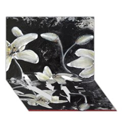 Black And White Lilies Love Bottom 3d Greeting Card (7x5)