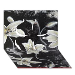 Black and White Lilies Clover 3D Greeting Card (7x5)