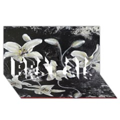 Black and White Lilies BEST SIS 3D Greeting Card (8x4)