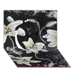 Black And White Lilies Circle 3d Greeting Card (7x5)