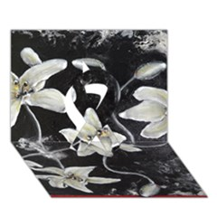Black and White Lilies Ribbon 3D Greeting Card (7x5)