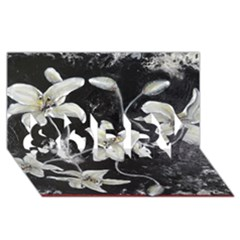 Black and White Lilies SORRY 3D Greeting Card (8x4)