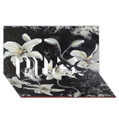 Black and White Lilies HUGS 3D Greeting Card (8x4)