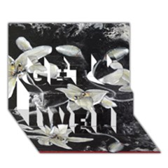 Black and White Lilies Get Well 3D Greeting Card (7x5)