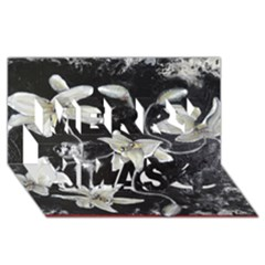 Black and White Lilies Merry Xmas 3D Greeting Card (8x4)