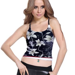 Black and White Lilies Spaghetti Strap Bra Tops
