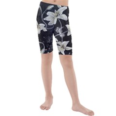 Black and White Lilies Kid s swimwear