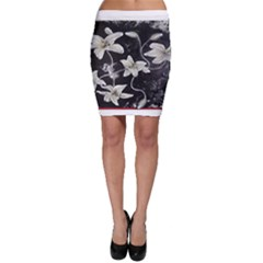 Black And White Lilies Bodycon Skirts