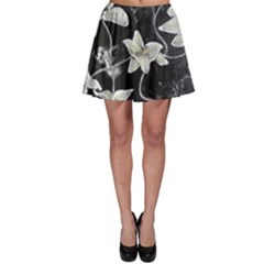 Black and White Lilies Skater Skirts