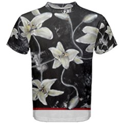 Black and White Lilies Men s Cotton Tees