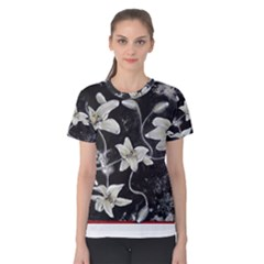 Black and White Lilies Women s Cotton Tees