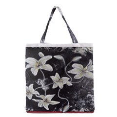 Black and White Lilies Grocery Tote Bags
