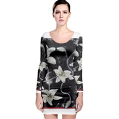 Black And White Lilies Long Sleeve Bodycon Dresses