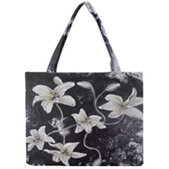 Black and White Lilies Tiny Tote Bags