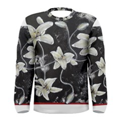 Black and White Lilies Men s Long Sleeve T-shirts
