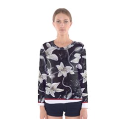 Black and White Lilies Women s Long Sleeve T-shirts