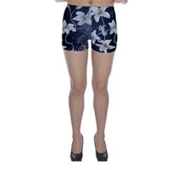 Black and White Lilies Skinny Shorts