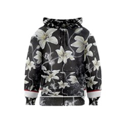Black And White Lilies Kids Zipper Hoodies