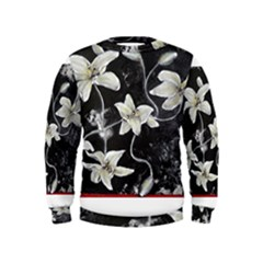 Black and White Lilies Boys  Sweatshirts