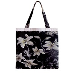 Black and White Lilies Zipper Grocery Tote Bags