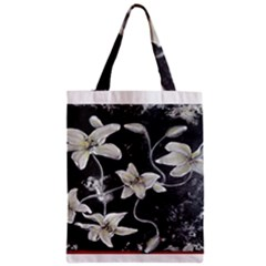 Black And White Lilies Zipper Classic Tote Bags