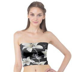 Black and White Lilies Women s Tube Tops