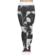 Black and White Lilies Women s Tights