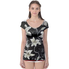 Black and White Lilies Short Sleeve Leotard