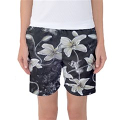 Black And White Lilies Women s Basketball Shorts