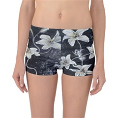 Black And White Lilies Reversible Boyleg Bikini Bottoms