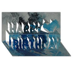 Blue Abstract Happy Birthday 3D Greeting Card (8x4)