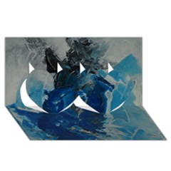 Blue Abstract Twin Hearts 3d Greeting Card (8x4)