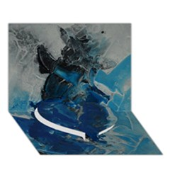 Blue Abstract Heart Bottom 3D Greeting Card (7x5)