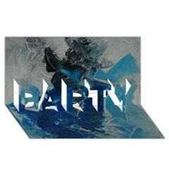 Blue Abstract PARTY 3D Greeting Card (8x4)