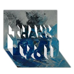 Blue Abstract THANK YOU 3D Greeting Card (7x5)