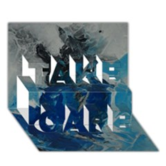 Blue Abstract TAKE CARE 3D Greeting Card (7x5)