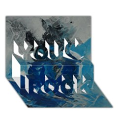 Blue Abstract You Rock 3d Greeting Card (7x5)